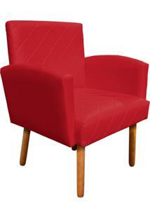 Poltrona Decorativa Veronês Para Sala E Recepção Corino Vermelho - D'Rossi