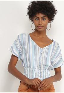 Blusa Lily Fashion Listrada Botões Feminina - Feminino-Verde