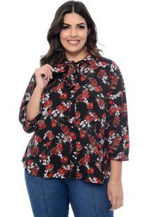 Camisa Marileti Plus Size Gravataria Florida Preto