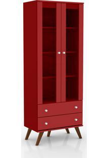 Estante Cristaleira Portas Com Vidro 2 Gavetas About Home - Vermelho - Multistock