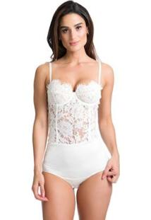 Body Miss Hirsch Renda Feminino - Feminino-Branco