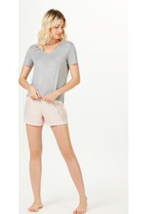 Pijama Feminino Curto Decote V Com Bordado