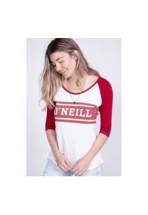 Camiseta Oneill Feminina Manga Longa Raglan Estampada Logo Vinho