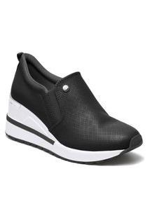 Tênis Via Marte Sneaker Anabela Slip On Plataforma Feminino Preto