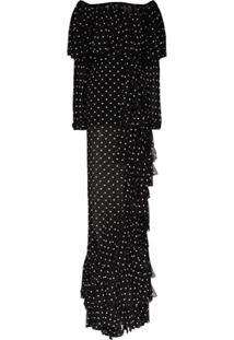 Balmain Off-The-Shoulder Ruffled Polka-Dot Gown - Preto