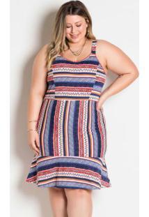Vestido Étnico De Alças Largas Plus Size