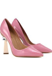 Scarpin Couro Carrano Salto Geométrico Statement - Feminino-Rosa Escuro