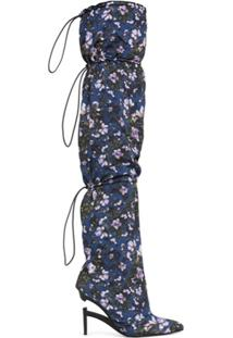 Unravel Project Bota Floral Com Salto 100Mm - Azul