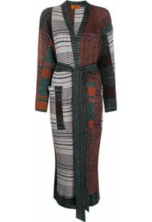 Missoni Casaco Color Block Com Cinto - Azul
