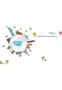 Adesivo De Parede Holiday Time- Azul & Cinza- 60X90Cevolux