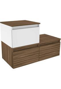 Gabinete Para Banheiro Em Mdf Florença 90X60Cm Terracota