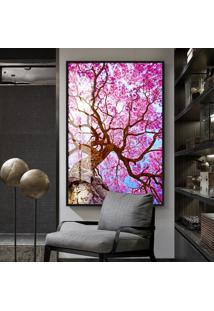Quadro 150X100Cm Flores Cerejeiras Rosas Árvore Vidro Cristal E Moldura Preta Decorativo Interiores - Oppen House