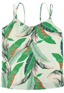 Blusa Verde Tropical Com Alça Dupla