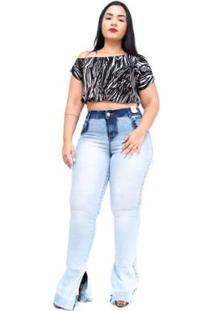 5b195c92c ... Calça Jeans Plus Size Credencial Flare Manchada Kayte Feminina -  Feminino-Azul