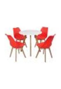 Mesa Laura 80Cm Branca + 4 Cadeiras Leda - Vermelha