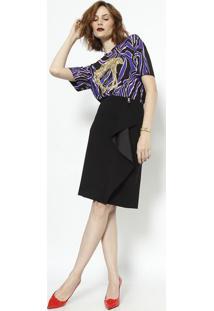 Camiseta Abstrata Com Bordado - Preta & Rosa Pastel Versace