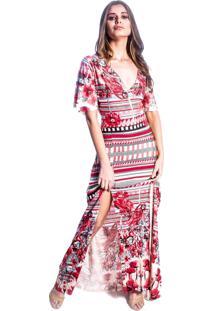 Vestido Carbella Longo Fenda Dupla Estampado Vermelho