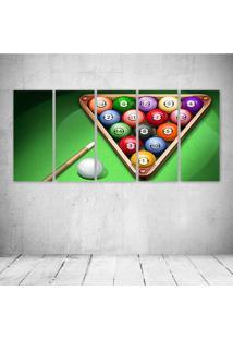 Quadro Decorativo - Bilhar - Composto De 5 Quadros - Multicolorido - Dafiti