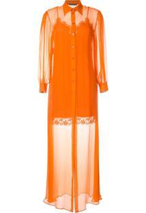 Alberta Ferretti Vestido Com Sobreposição Translúcida - Laranja