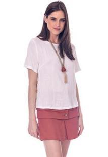 Blusa Botões Madeira - Lofty Style Feminina - Feminino-Off White