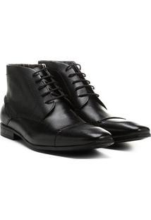 Bota Couro Cano Curto Shoestock Bico Quadrado Masculina - Masculino