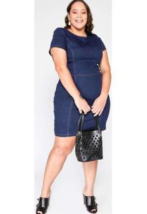 Vestido Almaria Plus Size Blubetty Jeans Curto Azu