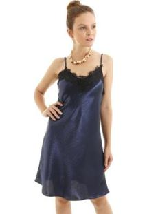 Vestido Regata Alcinha Acetinado Com Renda Busto Aha Feminino - Feminino