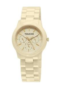 Relógio Touch Casual Multifunção Bege