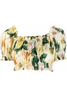 Dolce & Gabbana Blusa Cropped Ombro A Ombro - Amarelo