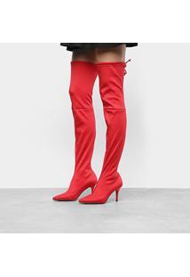Bota Meia Over The Knee Zatz Strech Salto Fino Feminina - Feminino-Vermelho
