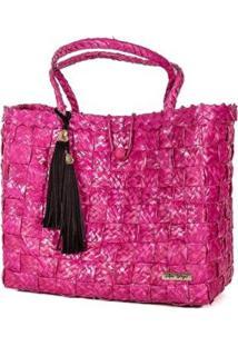 Bolsa Tote-Shopper Palha Franjas Feminina - Feminino-Pink