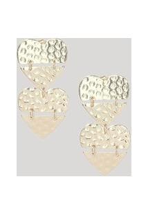 Brinco Feminino Coração Texturizado Dourado