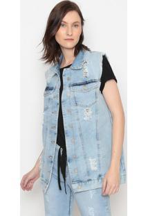 Colete Jeans Destroyed Com Botãµes- Azul- Pacificpacific Blue
