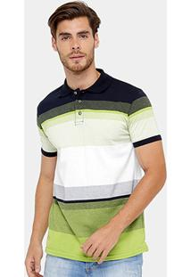 Camisa Polo Blue Bay Piquet Listras Masculina - Masculino