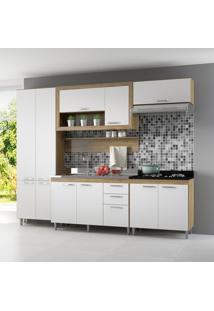 Cozinha Compacta Villa Elisa 11 Pt 3 Gv Argila, Branco E Preto