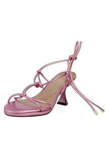 Sandália Salto Taça Amarrações Metalizado Rosa