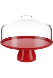 Boleira Grande Cake Com Cúpula 32 X 32 X 26,7 Cm Vermelho Bold Coza