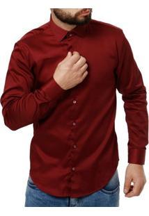 Camisa Manga Longa Masculino Elétron Vinho