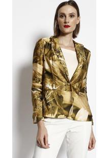 Blazer Floral Acetinado- Amarelo & Preto- Cotton Colcotton Colors Extra