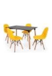 Conjunto Mesa Jantar Eiffel 120X80Cm Preta + 4 Cadeiras Charles Eames Botonê - Amarela
