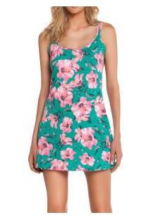 Camisola Curta Alcinha Floral Cor Com Amor Sleepwear (64967) Poliviscose