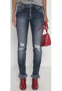 Jeans Midi Skinny Lille- Azul Escuro- John Johnjohn John
