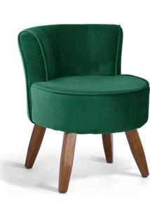 Poltrona Decorativa Fixa Pés De Madeira Olivia Veludo Verde B-303 - Lyam Decor