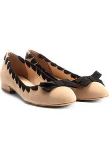 Sapatilha Couro Shoestock Gorgurão Feminina - Feminino-Nude