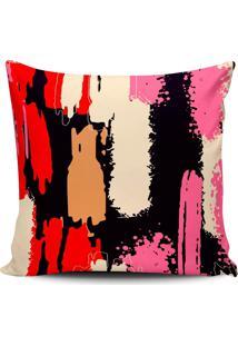 Capa Almofada Pintura Abstrata Preta E Pink 45X45Cm