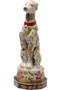 Escultura Decorativa De Porcelana Sitting Dog Le Jardin