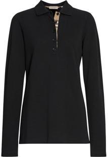 Burberry Camisa Polo Mangas Longas - Preto