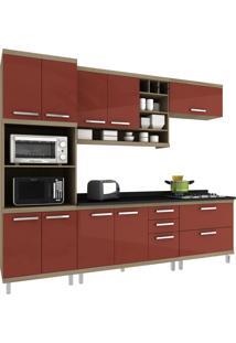 Cozinha New Vitoria 17 Avelã Hecol Móveis Vermelho