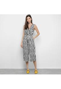 Macacão Lily Fashion Listrado Feminino - Feminino-Branco+Preto