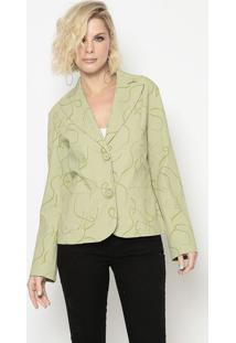 Blazer Com Estampa Abstrata- Verde Claro- Cotton Colcotton Colors Extra